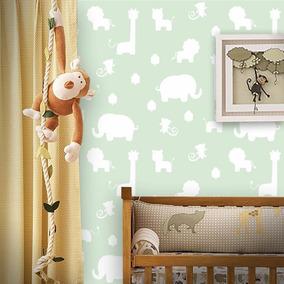 Papel De Parede Infantil Bichinhos Safari Verde E Branco