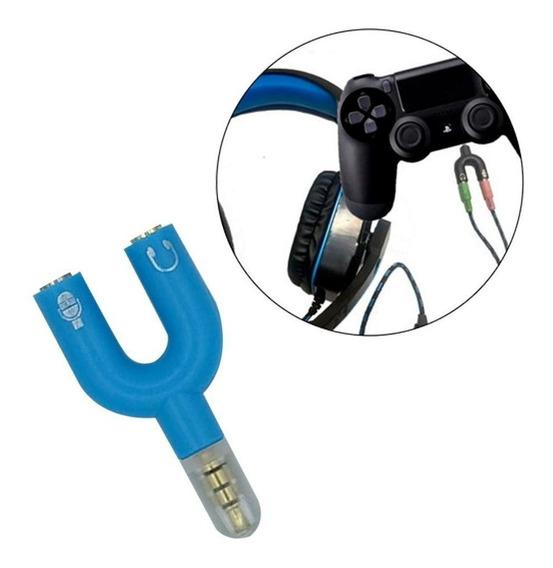 Adaptador P2 3 Vias Headset (microfone/aúdio Estéreo) Azul