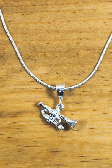 Dije Trompeta Plata Ley .925 | Collar Trompeta Mova