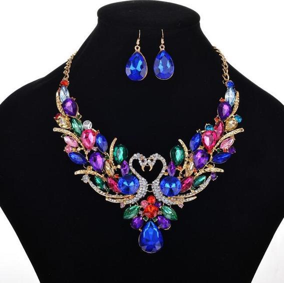 Conjunto Maxxi Colar Brinco Strass Cristal Colorido Luxo