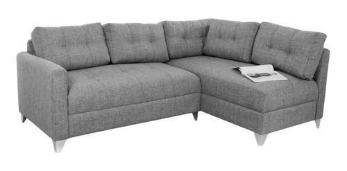 Sofa Modular En L Emerson Derecho Tela Gris