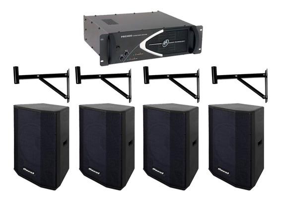 Kit Som Para Igreja 4 Caixa + Amplificador Oneal Ll Pro 3000