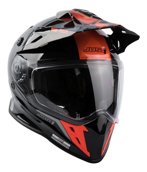 Casco Just1 J34 Neon Red Adventure Hibrido Doble Visor