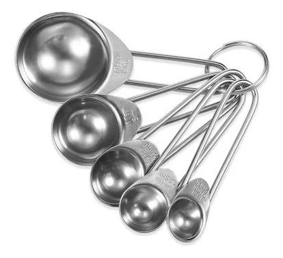 Imagen 1 de 6 de Cucharas Medidoras Cocina Repostería 5 Pz Acero Inoxidable