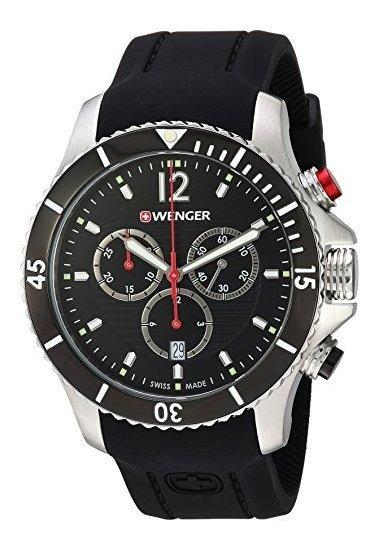 Wenger 0641.102 Sea Force 3h Reloj Negro De Cuarzo Suizo Con