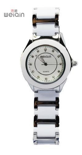 Imagen 1 de 10 de Reloj Weiqin Original Plateado Dama Unisex Ceramica Blanca Moda Movimiento Japones R40