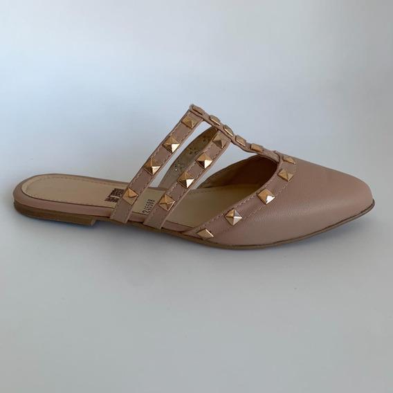 Zapatos - Mules Nude Con Remaches - Deboga Shoes