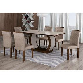 Conjunto De Mesa De Jantar Com 6 Cadeiras Maia I Suede Am...