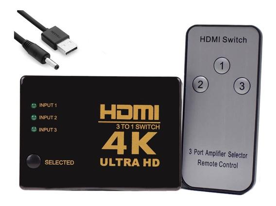 Hub Switch Hdmi 3x1 4k Controle Remoto E Cabo Energia Barato