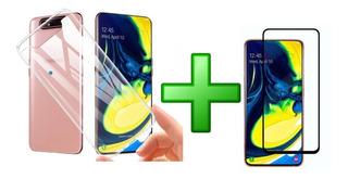 Estuche Tpu Smooth Samsung Galaxy A80/a90 Mas Vidrio 10d
