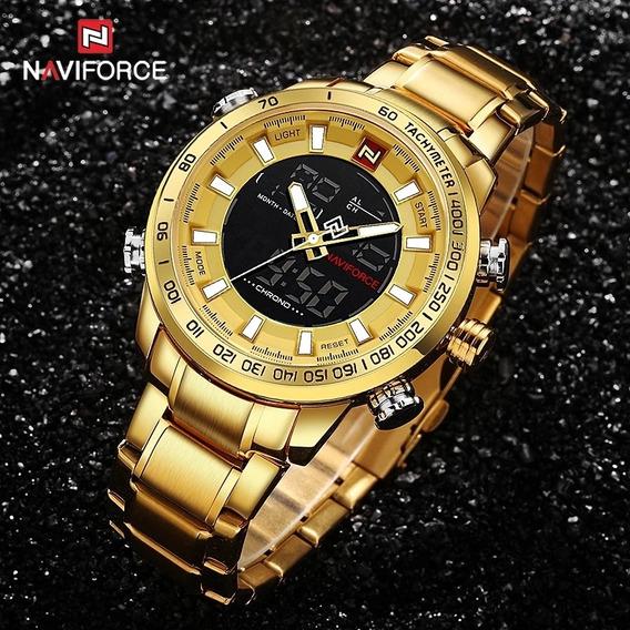 Relógio Original Naviforce 9163 - Dourado