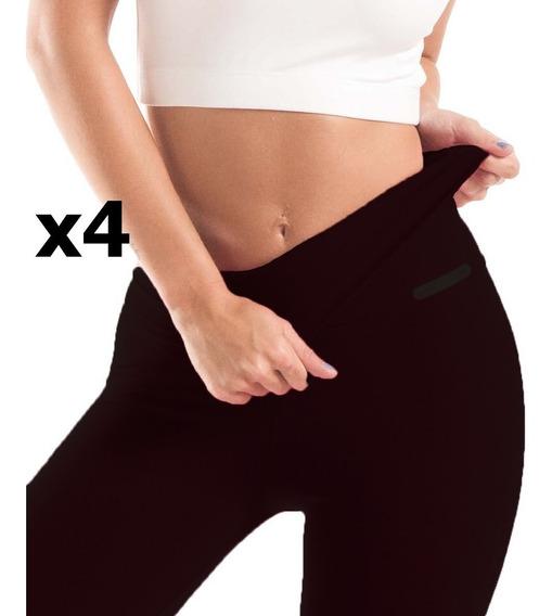 4 Calzas Chupin Leggins Sport Modela Supplex 2ble Cintura