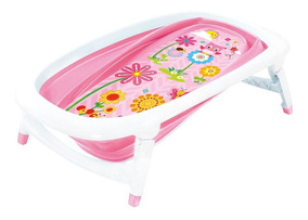 Banheira De Bebê Portátil Dobrável Flexível Rosa