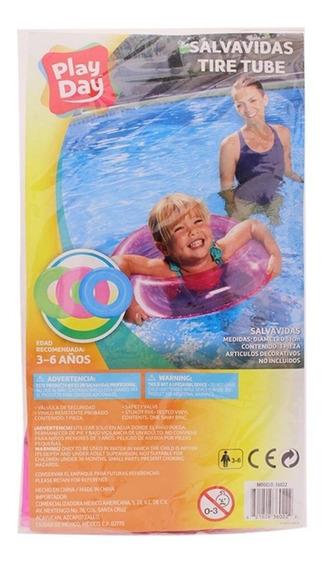 Salvavidas Infantil Play Day 51cm Azul Verde O Rosa 3-6 Años