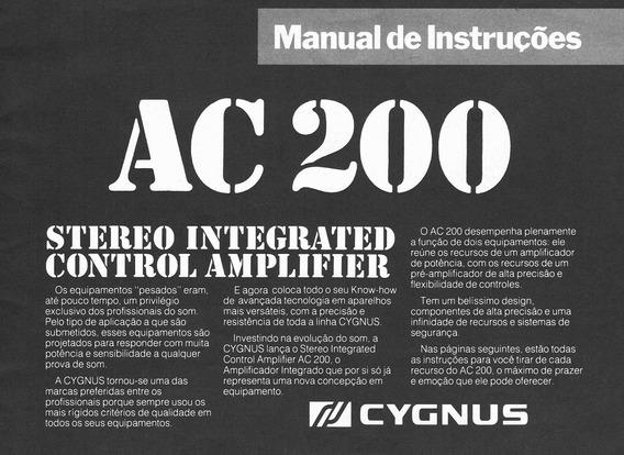 Cygnus Ac 200 Amplificador Manual De Instruções
