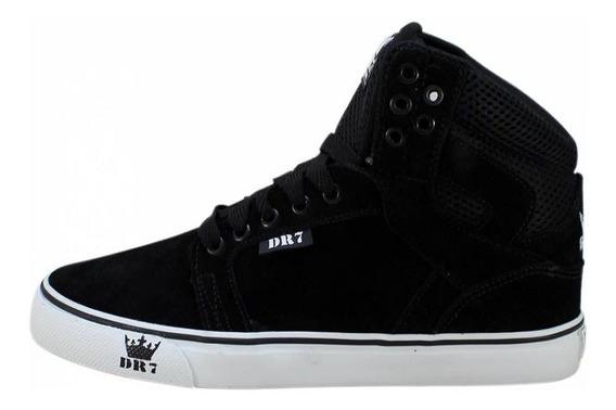 Tênis Sneakers Mad Bull Dr7 Camurça Preto Branco Promoção