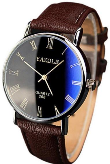 Relógio De Pulso Yazole - Algarismo Romano - Reflexo Azul
