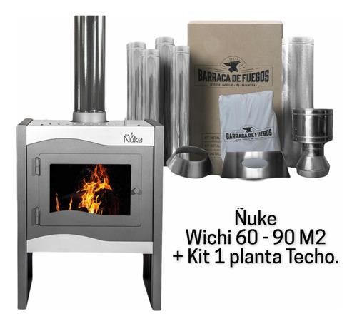 Imagen 1 de 6 de Estufa Calefactor A Leña Ñuke Wichi 60 + Kit Materiales