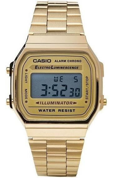 Relógio Feminino Casio Vintage A168 Dourado Promoção