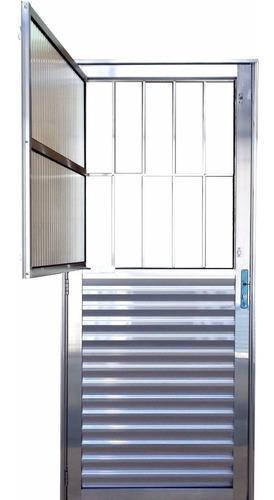 Porta Postigo De Alumínio Brilhante 2,10 X 0,90 Direita