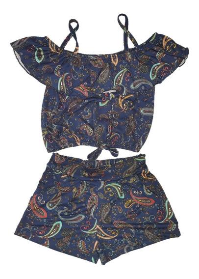 Conjunto Feminino Jersey Com Blusa Cigana E Short Com Cós Tamanho 10 12 14