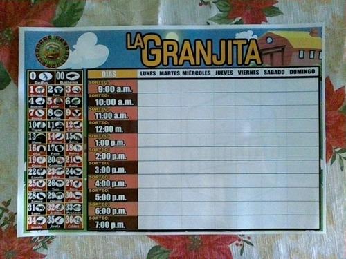 Pizarras Lotto Activo Y La Granjita Pack Por Las 2 Unidades