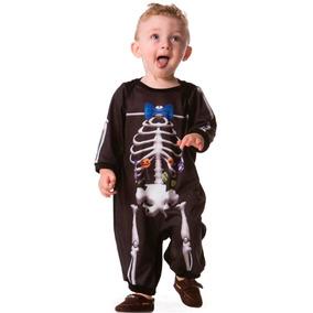 Roupa De Esqueleto Macacão Pra Menino Halloween 3 A 18 Meses