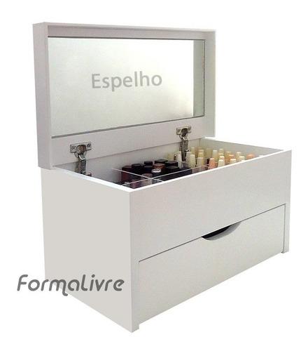Caixa Organizadora Porta Maquiagem Com Espelho Branco Laca