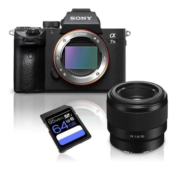 Kit Câmera Sony A7iii Mirrorless + Lente Sony Fe 50mm F/1.8