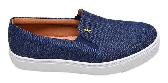 Tênis Feminino Casual Slip On Santa Lolla Azul Jeans