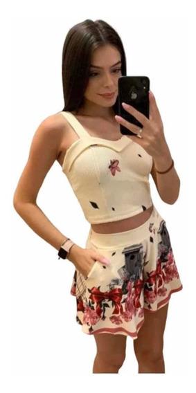 Conjunto Feminino Cropped E Shorts Godê Barra Ondinhas