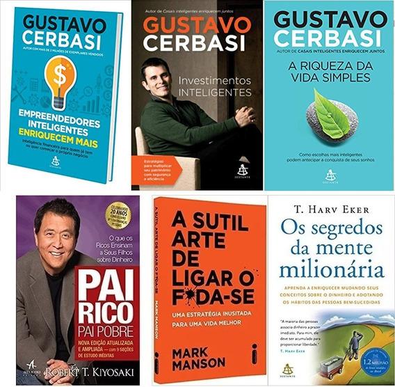 Kit Gustavo Cerbasi 3 Livros + Pai Rico Pai Pobre + 2 Livros