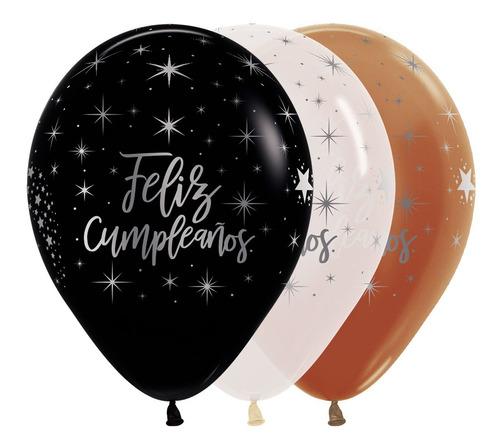 Globo Metal Feliz Cumpleaños Radiante R-12 X 50 Und