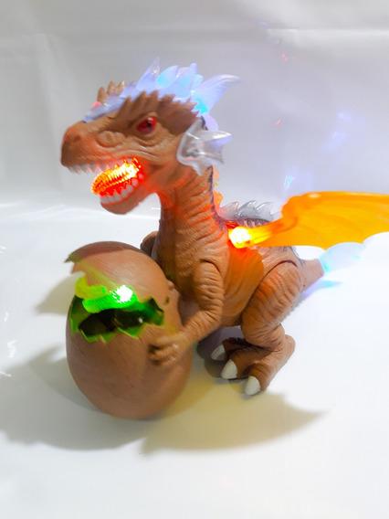 Dragão Dinossauro Com Filhote No Ovo Som Luz E Movimento !