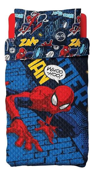 Colcha Dupla Face Spider Man Homem Aranha Com Fronha Lepper