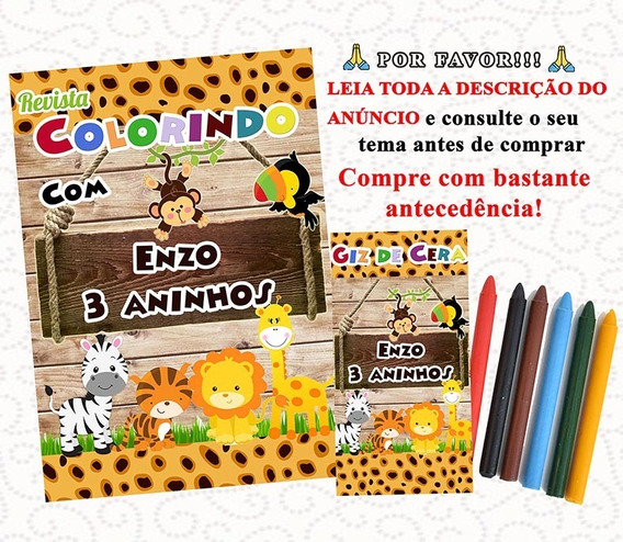 30 Kit Revistinha De Colorir Com Giz De Cera Safari
