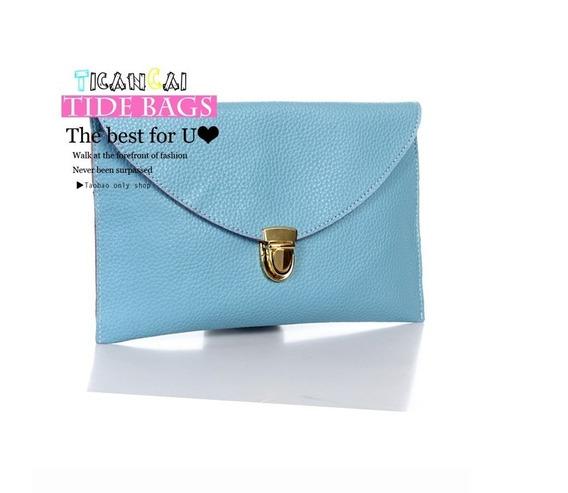 Bolsa Feminina Clutch Envelope Azul Carteira Alça Folhead115
