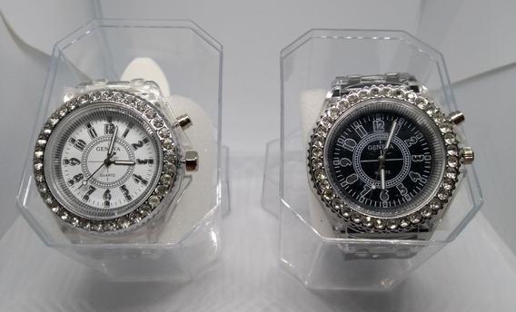 Relógio Feminino Geneva Led Várias Cores Oferta Com Caixa Acrílico