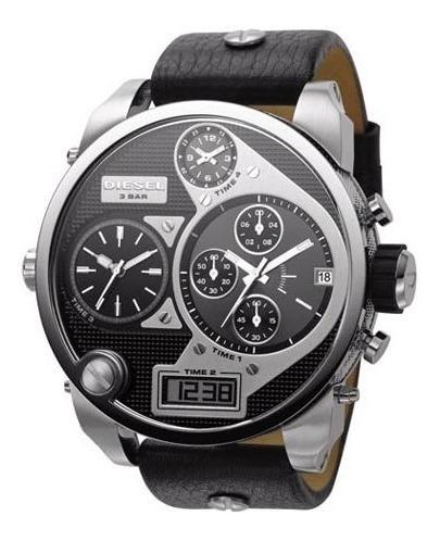 Relógio Diesel Dz-7125 Big Daddy 4 Times Pulseira Em Couro
