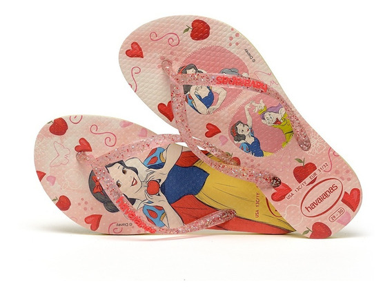 Sandálias Havaianas Chinelo Princesas Disney Branca De Neve