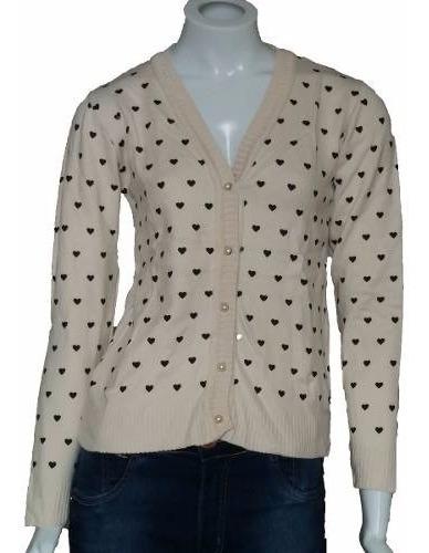 Blusa De Frio Cardigan Suéter Lã Trico Estampada
