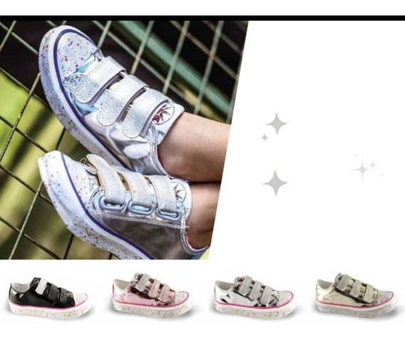 Zapatillas Metalizadas Con Abrojo Del 21 Al 34