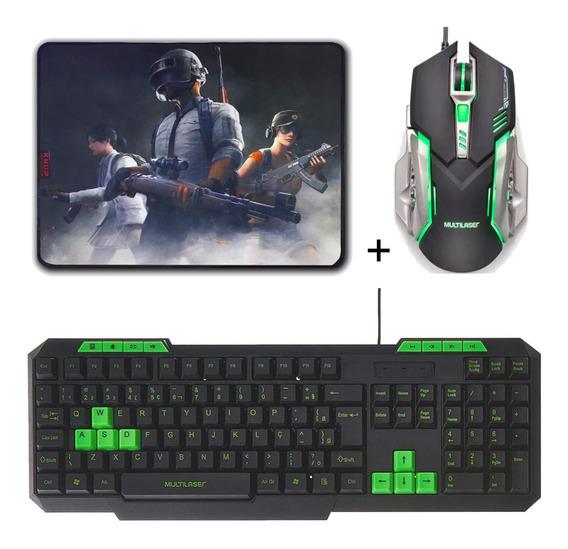 Kit Gamer Barato Teclado, Mouse Multilaser + Mouse Pad Gamer