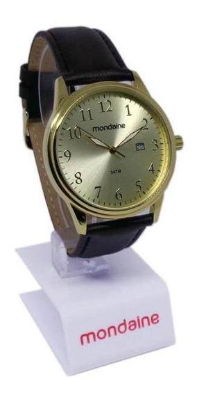 Relógio Mondaine Masculino Social Dourado Pulseira De Couro 83284gpmvdh1
