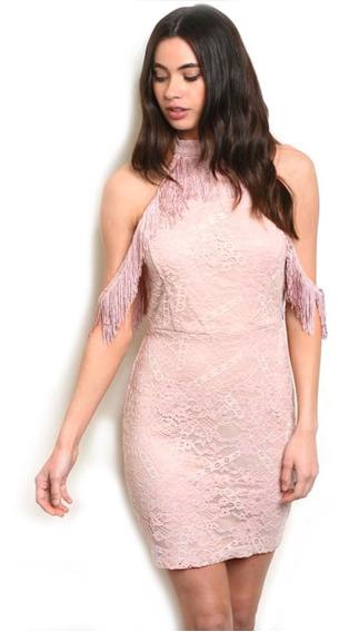 Vestido De Encaje Corto, Con Frescos En Hombros, Fiesta Sexy