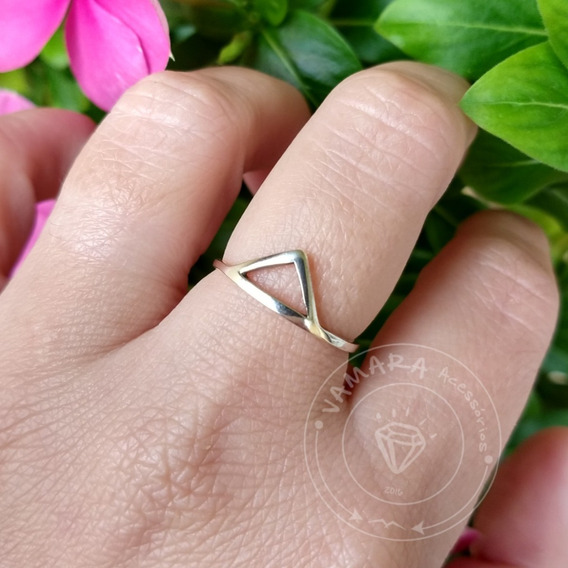 Anel De Prata 925 Geométrico Triângulo Vazado Aro 19