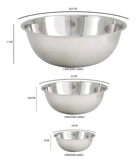 Set X3 Bowls Ensaladeras De Acero Inoxidable Reposteria Piu