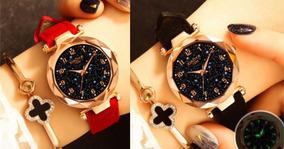 2 Relógios De Pulso Feminino Céu Estrelado Vermelho Preto