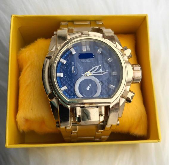 Relógio De Pulso Masculino Dourado Luxo