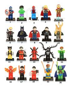 Kit C/ 20 Bonecos Vingadores Liga Justiça Marvel Minifiguras